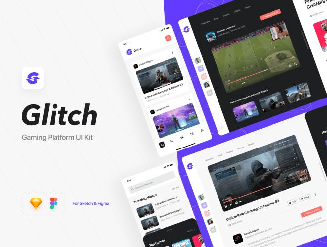 Glitch Gaming Platform UI Kit – Pixel-perfect UI Kit для веб и мобильных приложений (iOS)