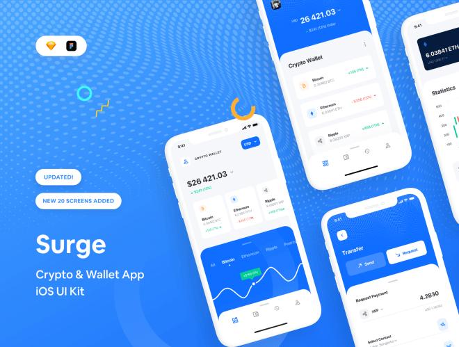 Surge iOS UI Kit – UI Kit приложения iOS для крипто и кошелька