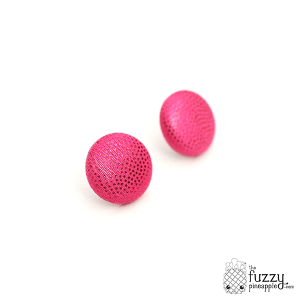 Just Glam in Pink M Fabric Covered Button Earrings