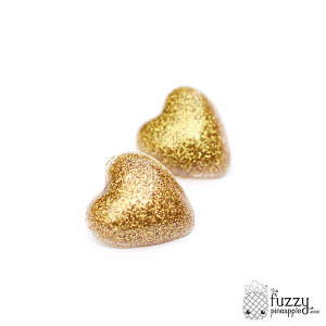 Gold Glitter Heart Earrings