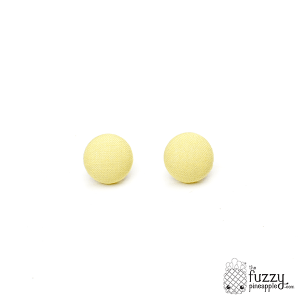 Solid Pale Yellow M Fabric Button Earrings