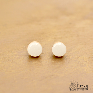 White Chunky Candy Dot Earrings
