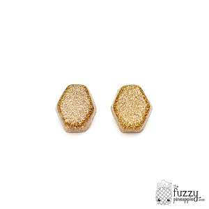 Gold Glitter Hexagon Earrings