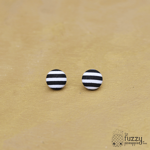 Black and White Stripes M Fabric Button Earrings