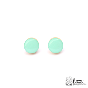 Mint Chunky Candy Dot Earrings