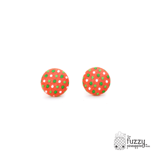 Mandarin Garden Polka Dot M Fabric Button Earrings