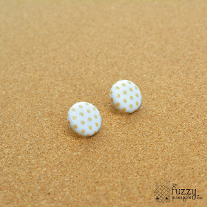 Beige Polka Dots on Cream M Fabric Button Earrings