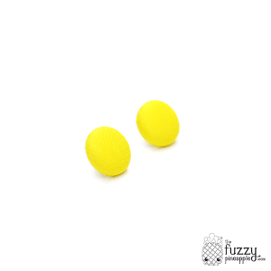 Solid Bright Yellow M Fabric Button Earrings