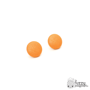 Solid Carrot Orange M Fabric Button Earrings