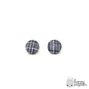 Criss Cross in Black M Fabric Button Earrings