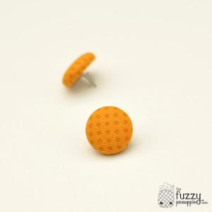 Marigold Spots M Fabric Button Earrings