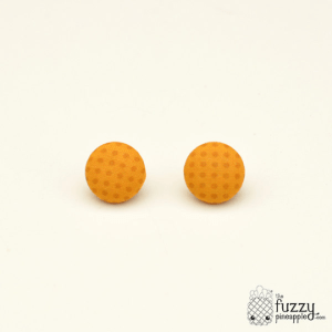 Marigold Spots M Fabric Button Earrings