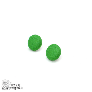 Solid Grass Green M Fabric Button Earrings
