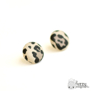 Lovely Leopard in Beige M Fabric Button Earrings