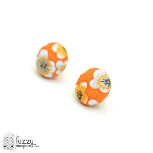 Fab Floating Flowers M Fabric Button Earrings