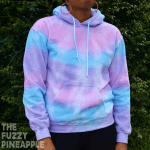 Striped Pastel Rainbow Hoodie in Pink, Blue, Purple