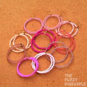 Pink Beaded Hoop Earring Collection