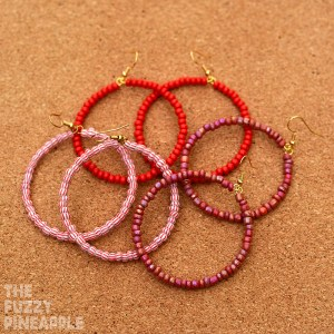 Red Beaded Hoop Earring Collection