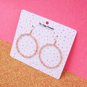 Crackle Peach Inline Seed Bead Hoop Earrings