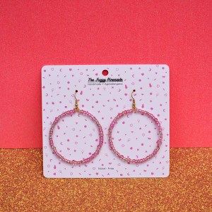 Clear Light Pink Seed Bead Hoop Earrings