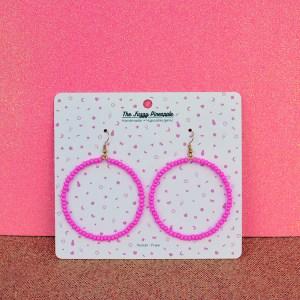 Bright Pink Seed Bead Hoop Earrings