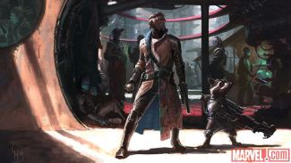 Early concept art of Peter Quill and Rocket Raccoon from Marvel's Guardians of the Galaxy