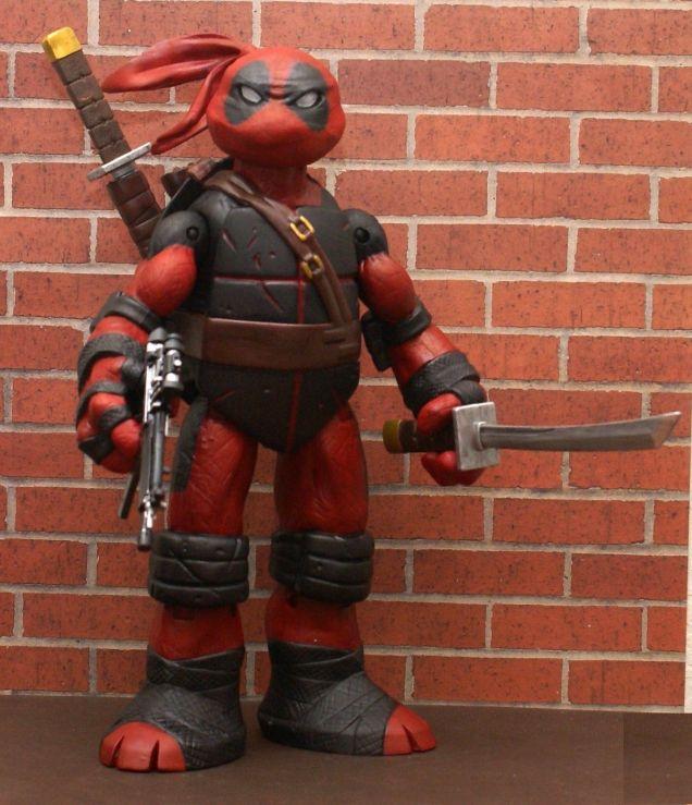 TMNT Battle Shell DEADPOOL Custom 10 Figure RED OR GREY SUIT - YOU PICK