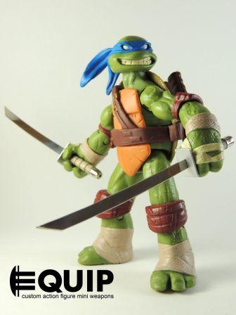 TMNT Custom Crafted Mini Katana's Ninja Turtles Leonardo wooden handles 1