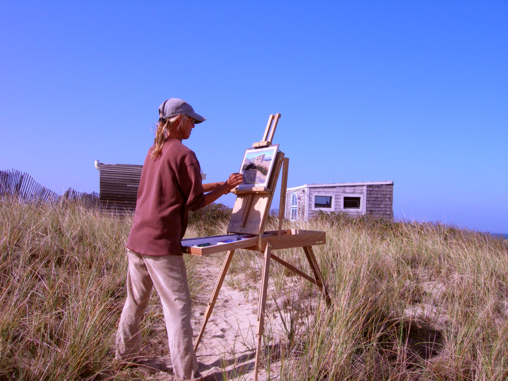 Nancy Poucher, artist, plein air painting