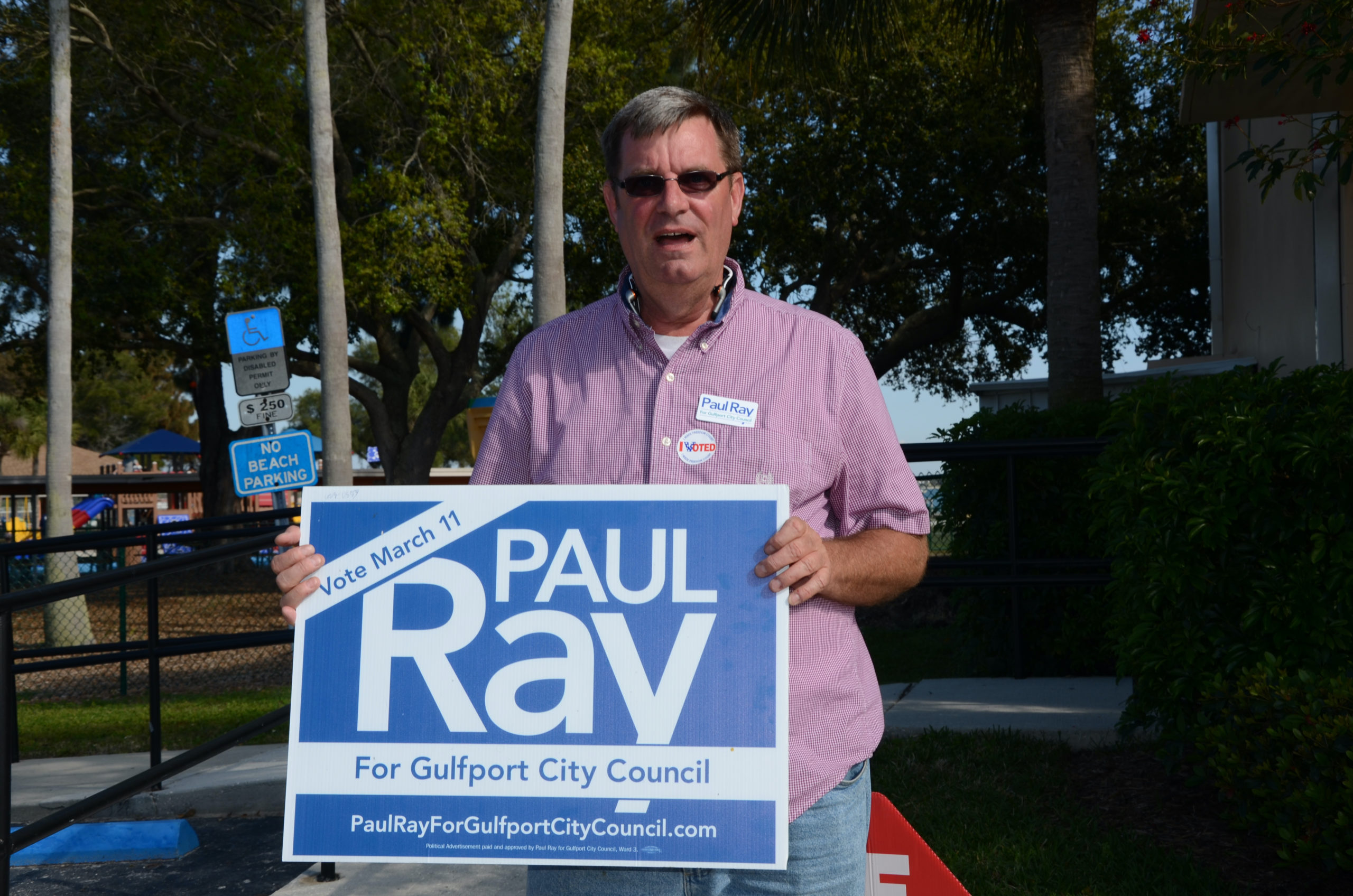 Gulfport Councilmember Paul Ray with Paul Ray for Council campaign sign.