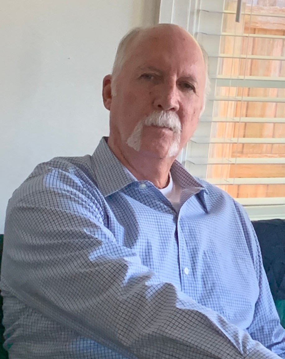 Stephen Burdick in blue shirt