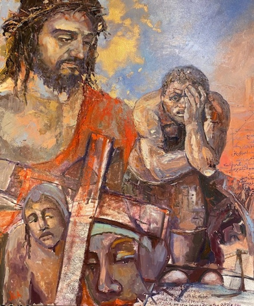A painting depicting Jesus and other religious themes by Jila Davoodi