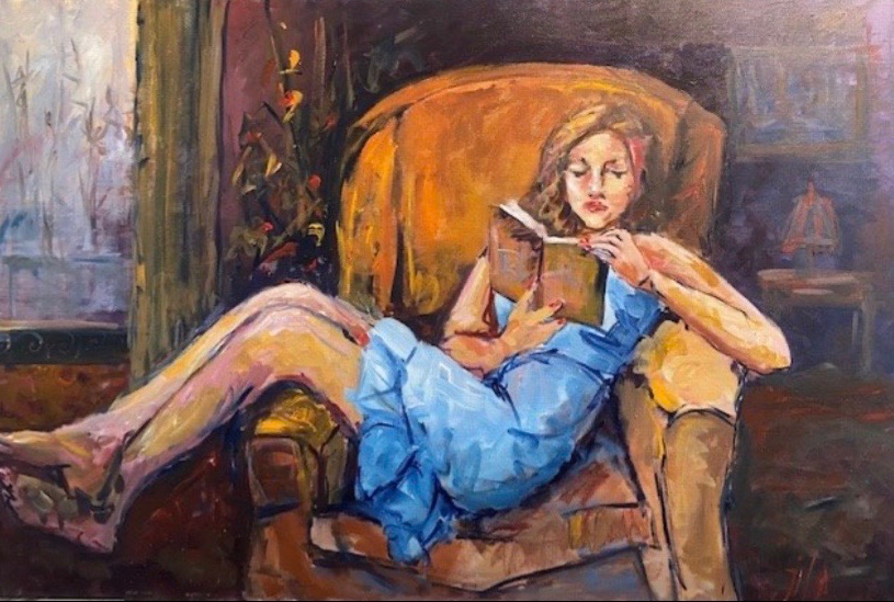 A painting of a woman reading in a chair in blue dress.