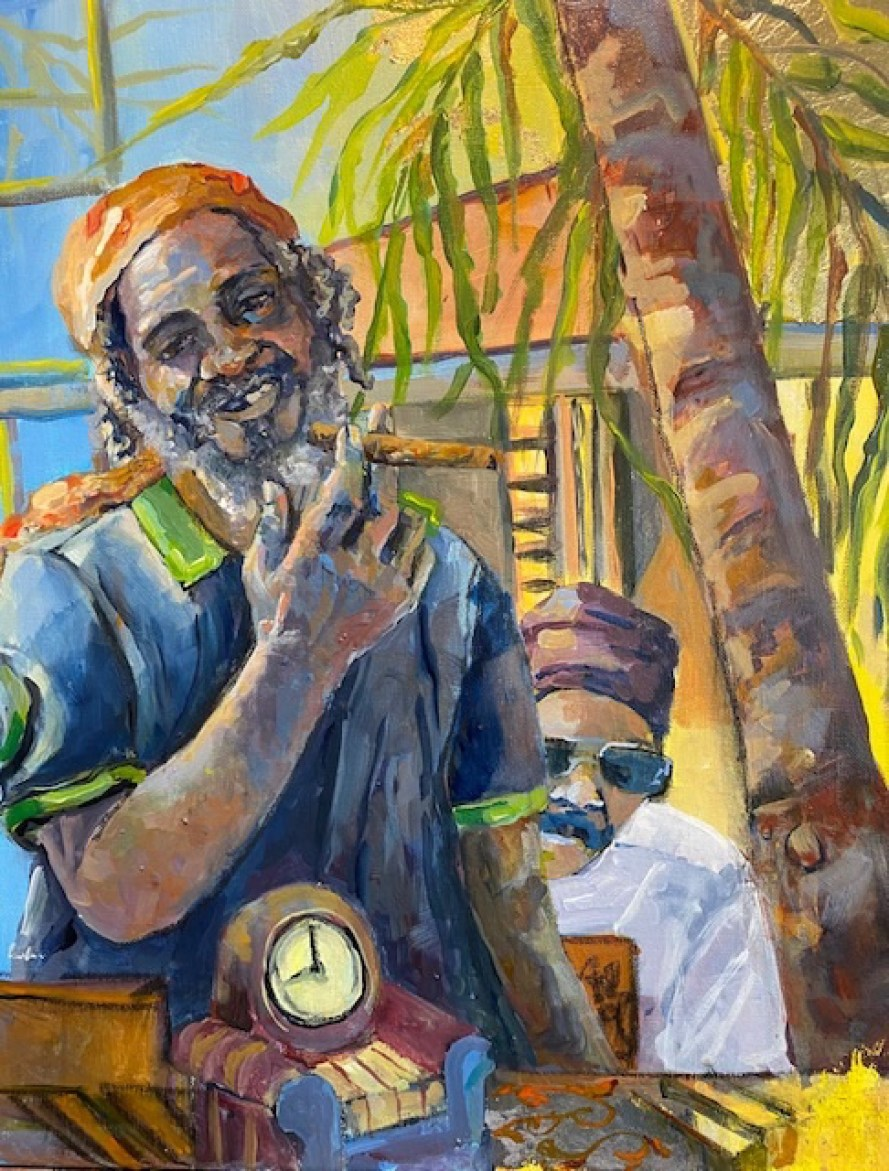 A painting of a Caribbean sailer in multicolors.