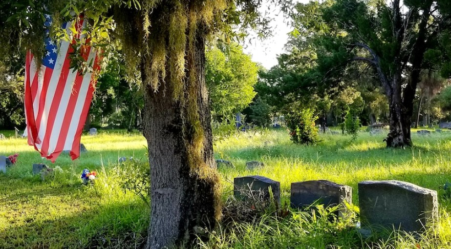 A grassy graveyard with tree and American flag.