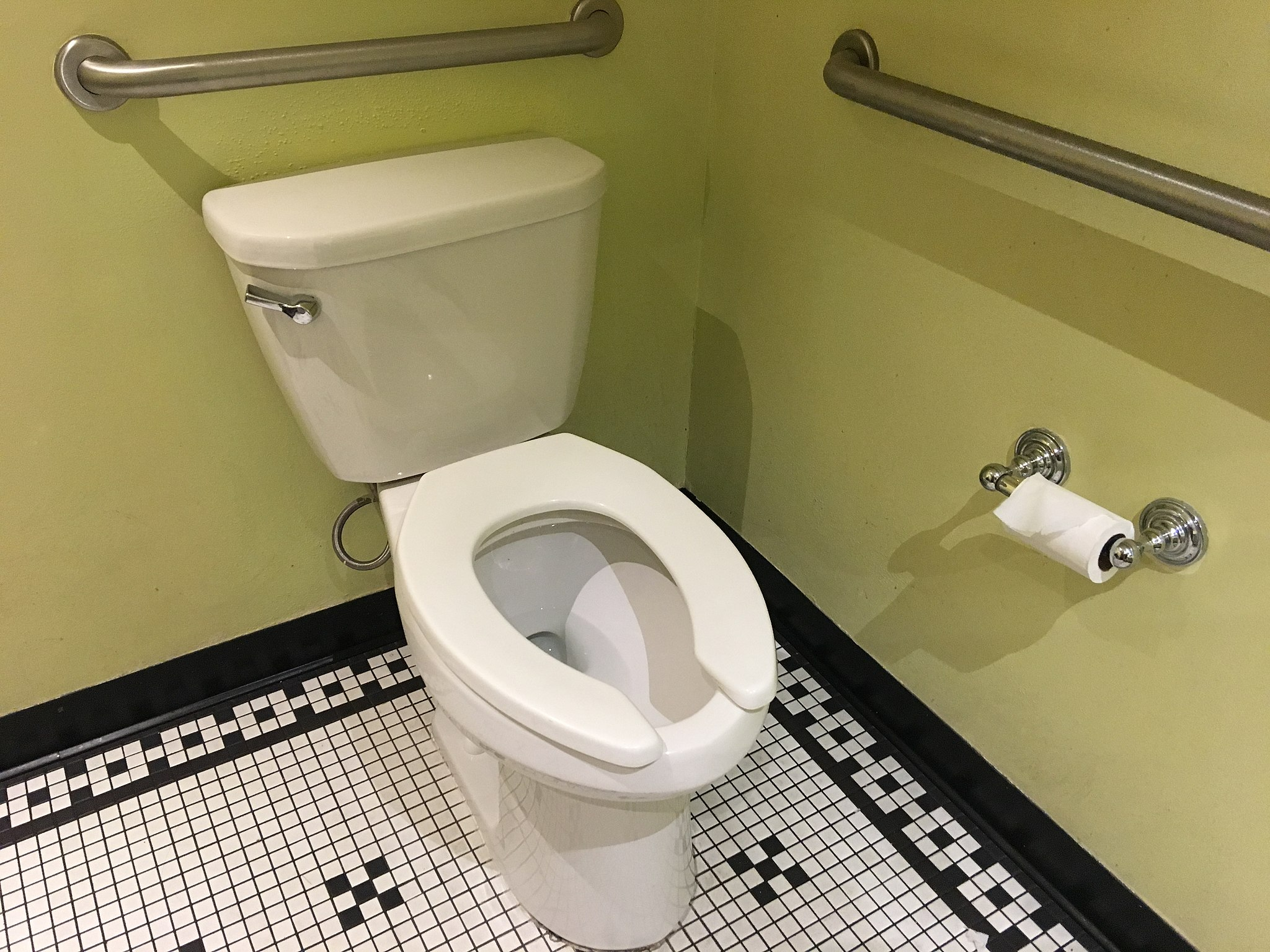 A toilet in a bathroom with black and white floor tiles and green walls