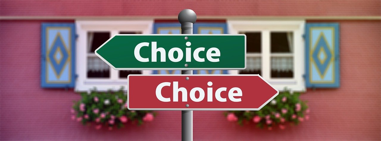 "Two arrow signs pointing in opposite directions reading ""Choice"" in red and green."