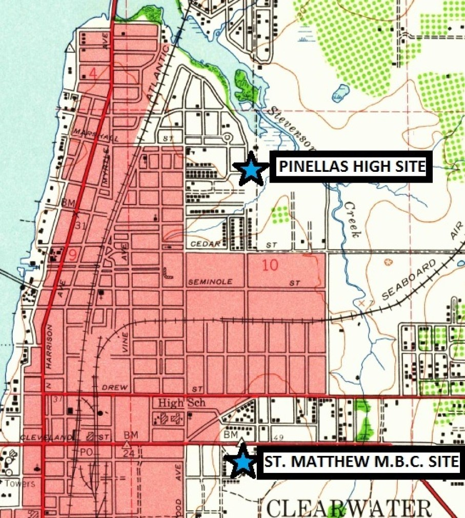 "A map of Pinellas County showing roads and the sites of ""Pinellas High"" and ""St. Matthew MBC"" site."