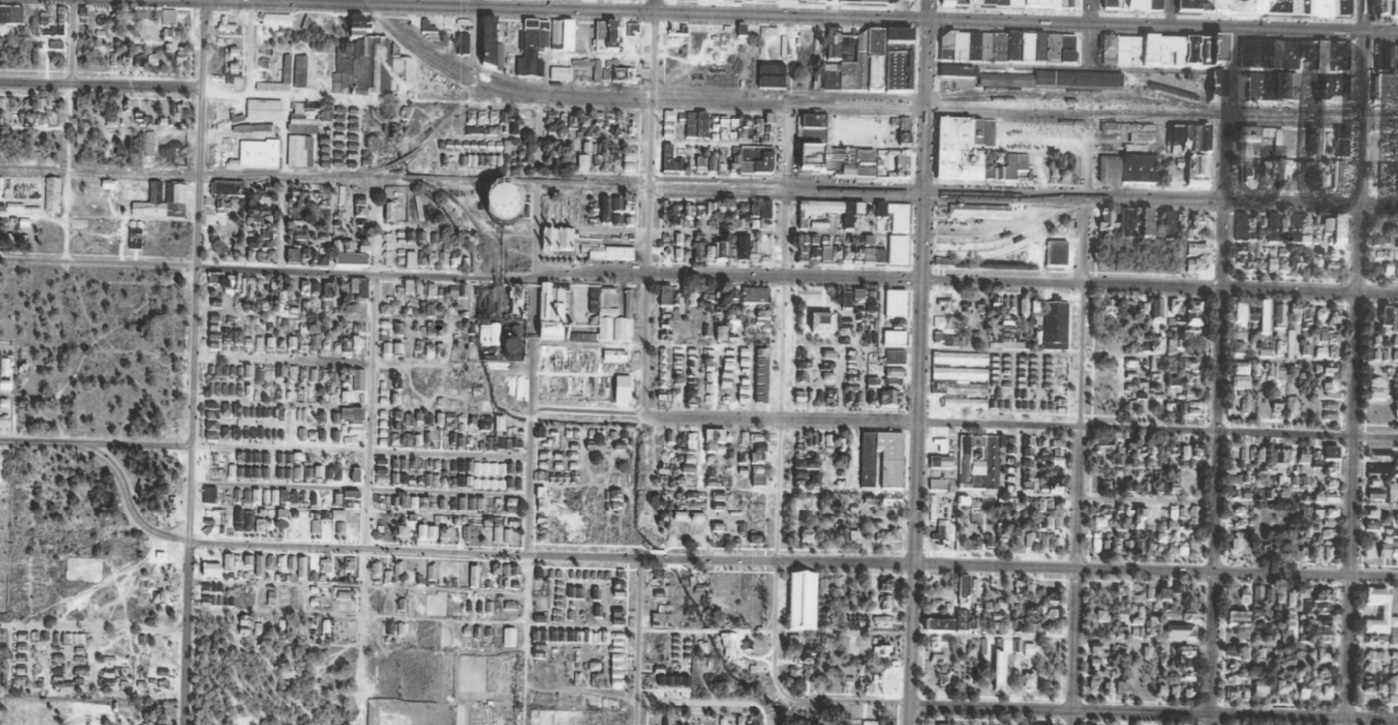 An aerial vintage shot in black and white of a neighborhood in St. Petersburg Florida
