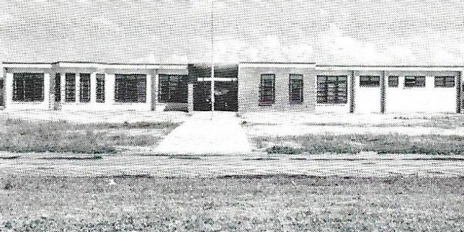 A black and white shot of a high school from 1954.