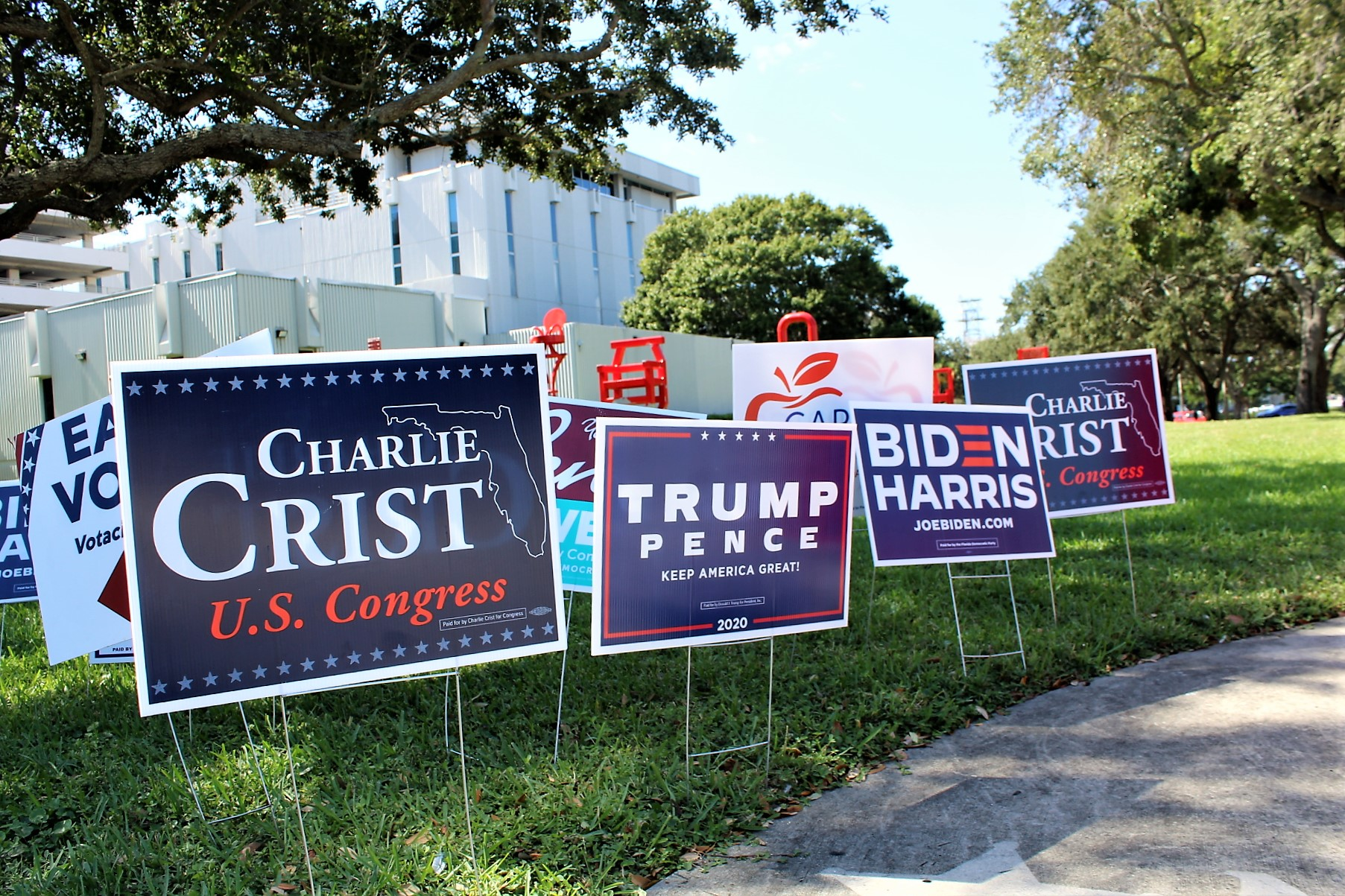 A collection of political yard signs on green grass.