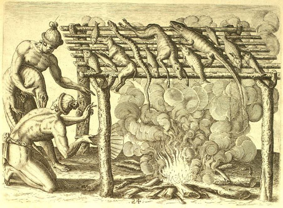 A historical drawing of indigenous people making food over a fire