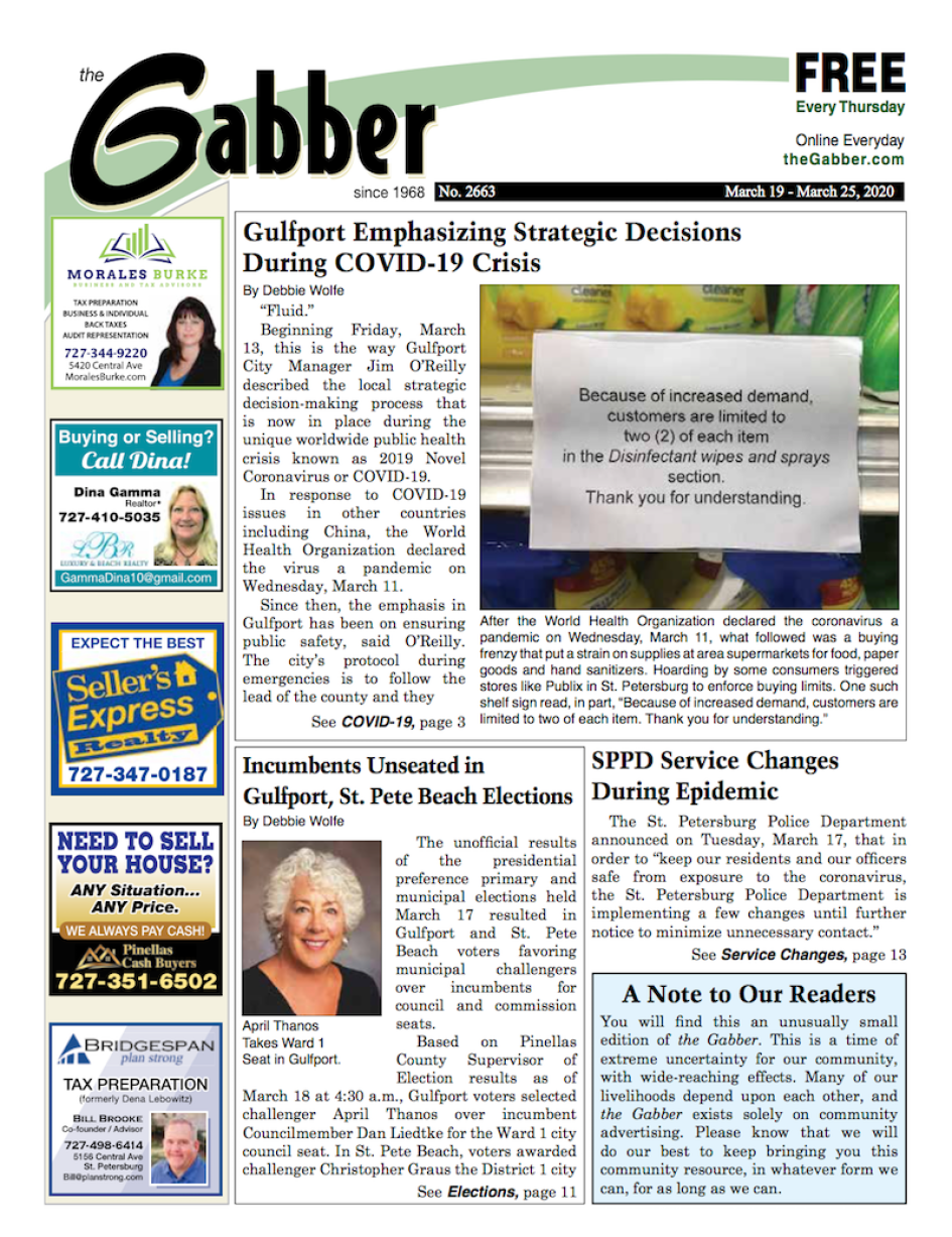 Gabber Newspaper cover for March 19, 2020 featuring stories about COVID-19, April Thanks Council Win in Gulfport Florida.