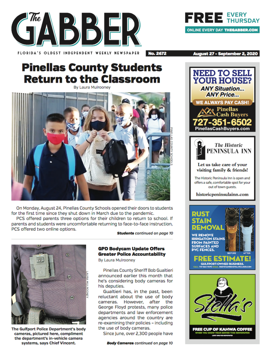 Gabber Newspaper cover from August 27, 2020 featuring a story on Pinellas County Schools reopening and Gulfport Florida Police body cameras