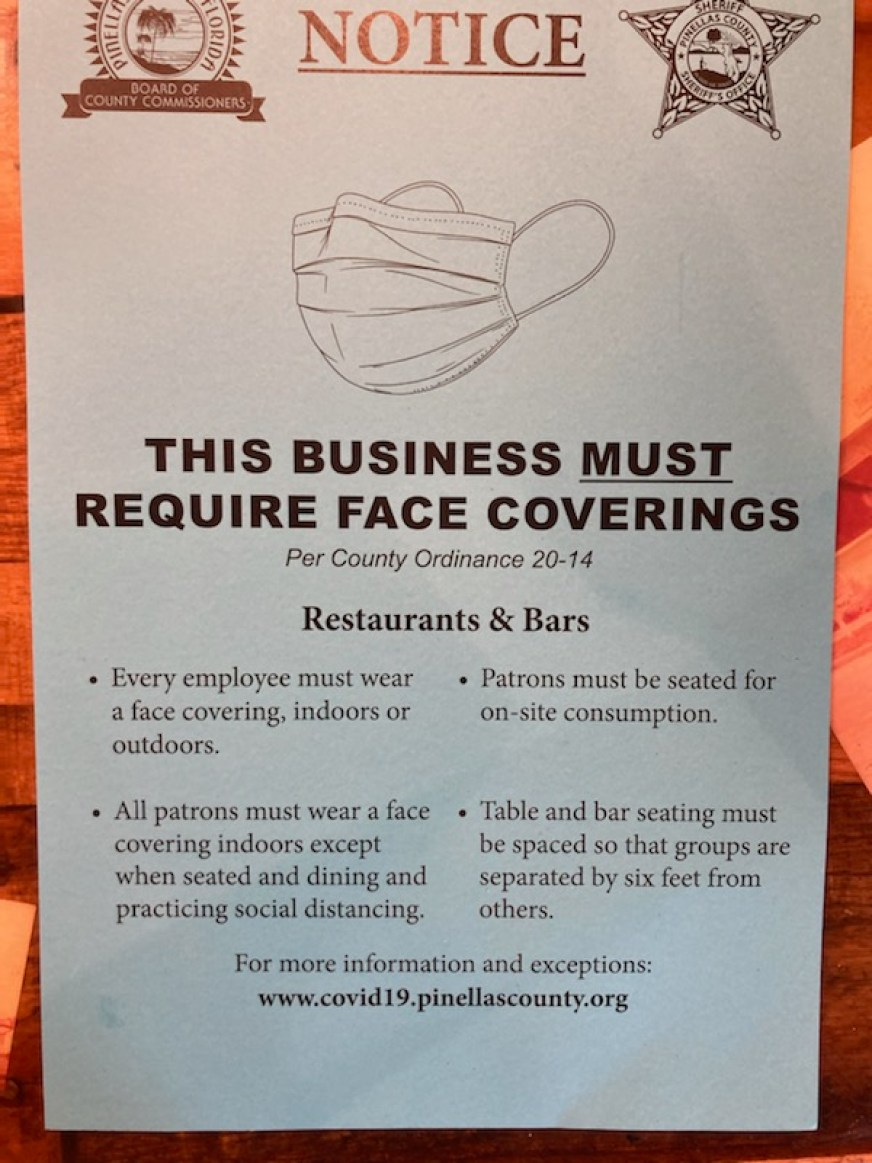 """A sign stating """"This Business Must Require Face Coverings"""" for a Pinellas County Mask Ordinance for Restaurants and Bars"""