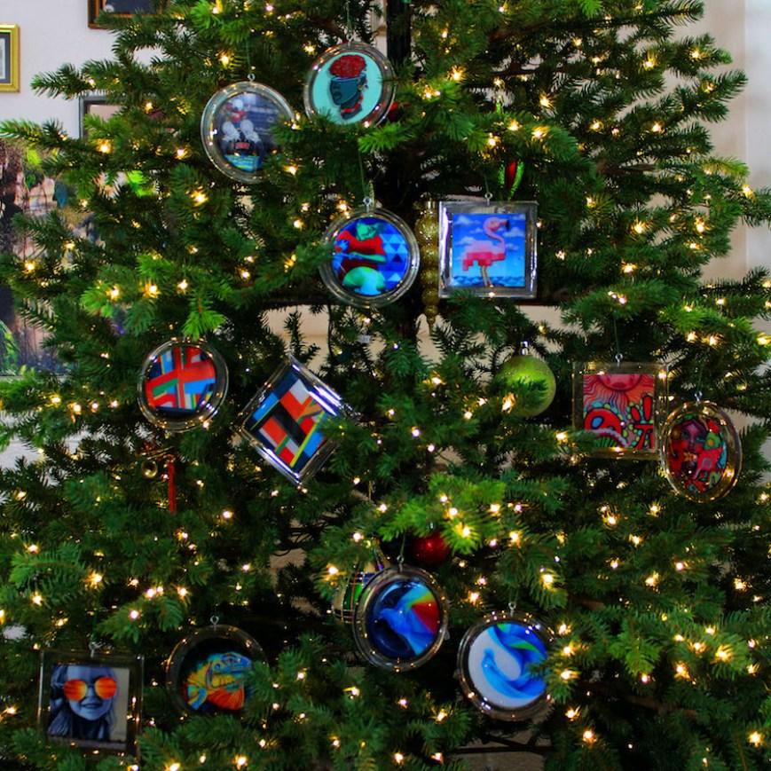 Art ornaments on a Christmas tree.
