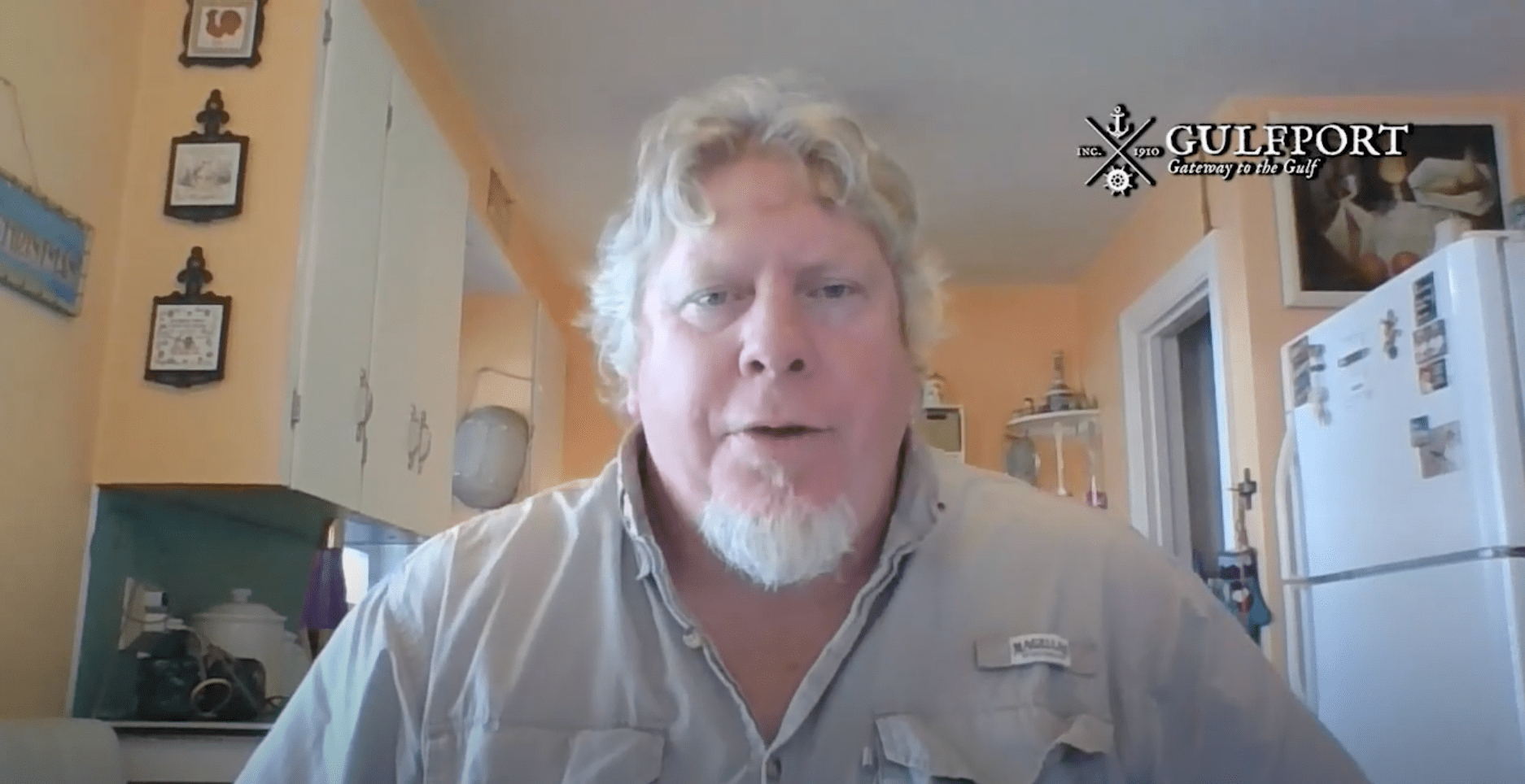 Screen cap of a man in a kitchen with a logo on the top right for Gulfport Florida