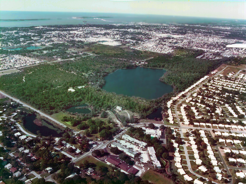 An aerial photo of a greenspace in Pinellas County Florida
