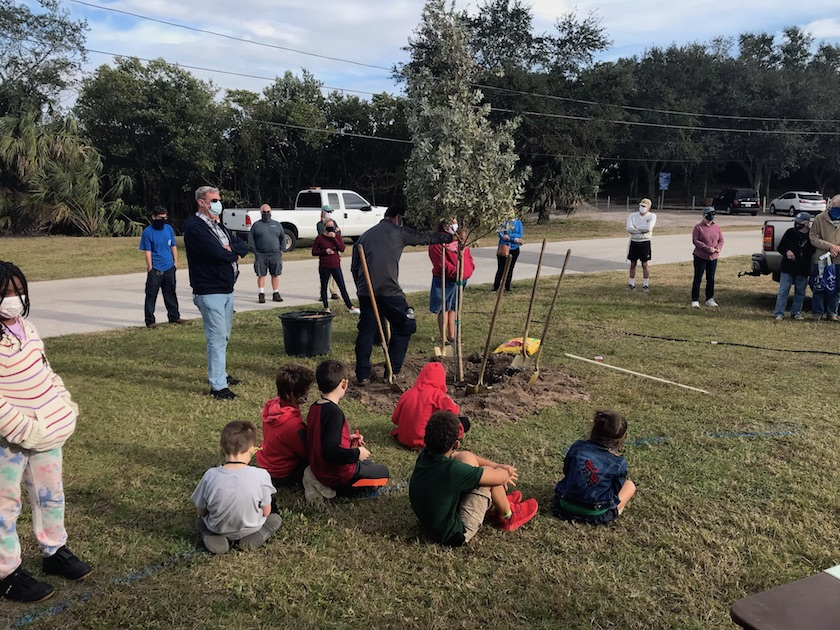 A group of people gathered around a newly planted tree on the grass.