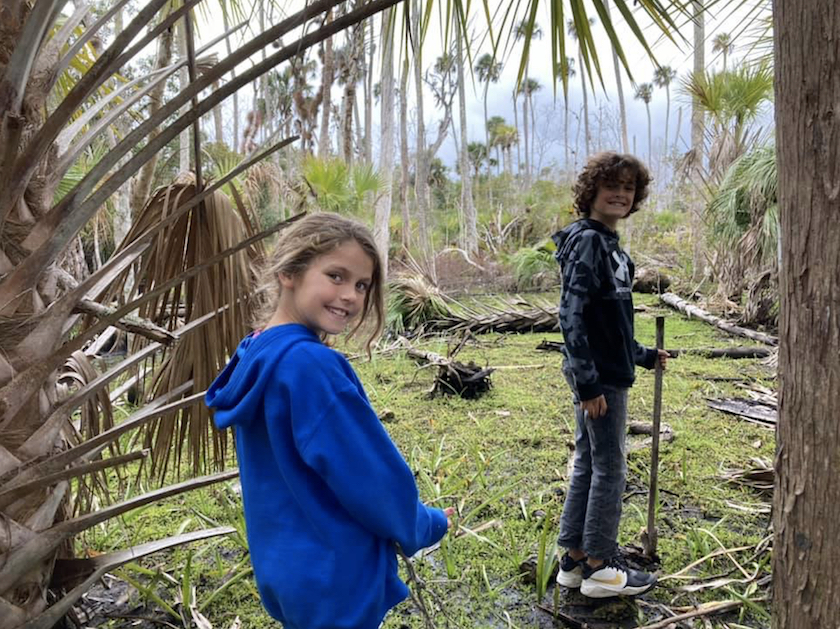 Two children outside in green grass and palm trees.